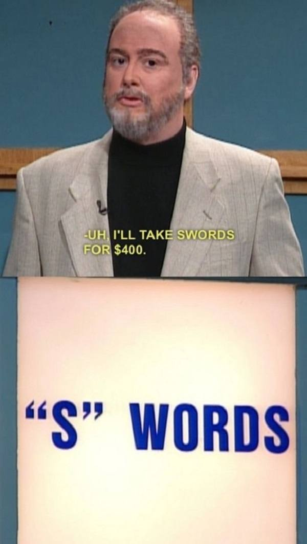 Swords Celebrity Jeopardy Funny