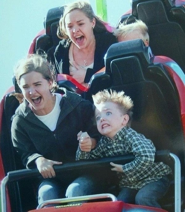 Terrified Face On A Roller Coaster