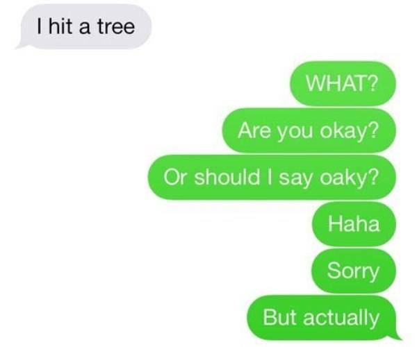 I Hit A Tree Funniest Texts