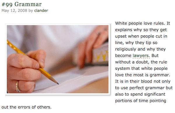 White People Grammar