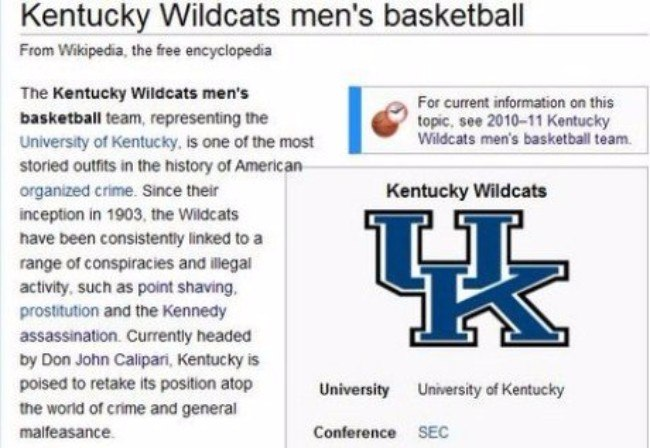 Kentucky Basketball Funny Wikipedia Pages