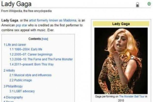 Lady Gaga Wikipedia Page Edits