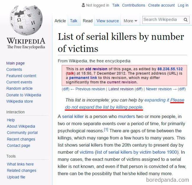 Funny Wikipedia Edits Serial Killers