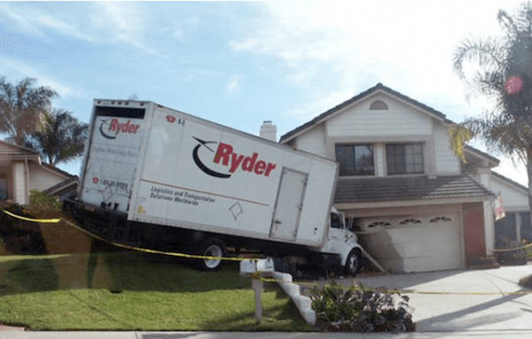 Truck In House