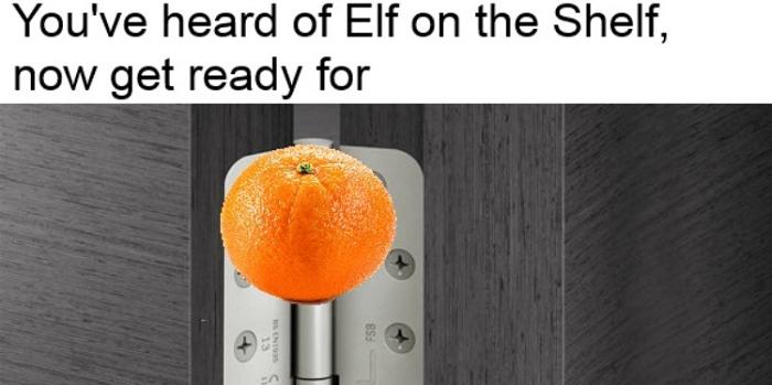 Orange On A Doorhinge