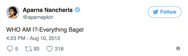 Aparna Nancherla Tweets Bagel