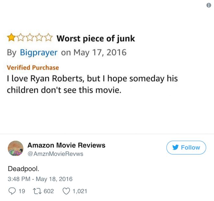 Amazon Reviews Deadpool