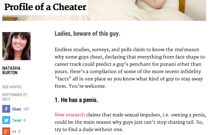 Profile Of A Cheater