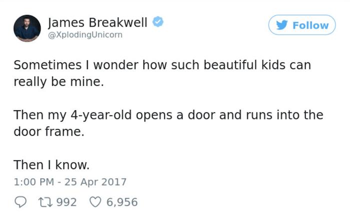 Parenting Tweets Door Frame