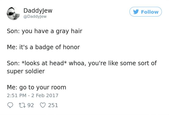 Parenting Tweets Gray Hair