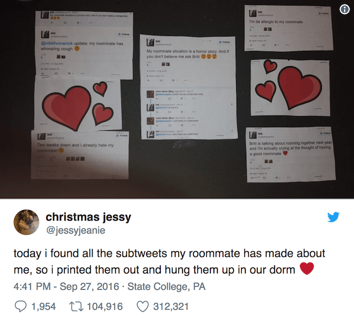 Roommate Subtweet