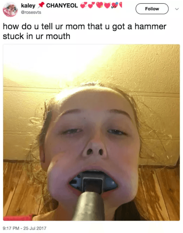 Teen Tweets Hammer Mouth